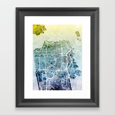 San Francisco City Street Map Framed Art Print