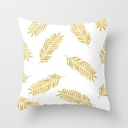 Gold Leaves Pattern Throw Pillow