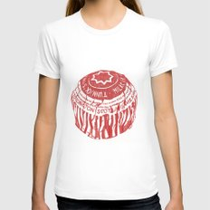Tea Cake pen drawing (red) Womens Fitted Tee White MEDIUM