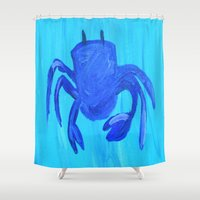 crab Shower Curtains featuring Crab by Lissasdesigns