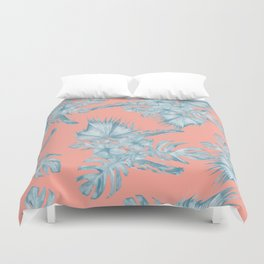 Dreaming of Hawaii Pale Teal Blue on Coral Pink Duvet Cover