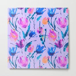 Tulip fever (floral seamless pattern in lilac, ultramarine, magenta, blue, orange colours) Metal Print