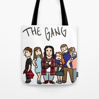 my mad fat diary Tote Bags featuring My Mad Fat Diary: The gang by Lisa France