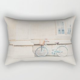 a mint green bicycle is the perfect way to travel around Cambridge Rectangular Pillow