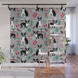 Boston Terrier christmas holiday pattern design dog breed gifts pet friendly home decor Wall Mural