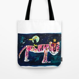 Toucan and Tiger in the Night Sky Painting Tote Bag