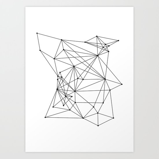 White Geometric Dots and Lines Art Print