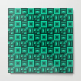 Volumetric pattern of convex squares with light blue mosaic rectangular highlights and tiles. Metal Print
