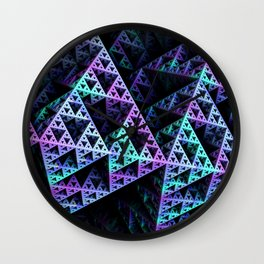 Lilac Ice 3D Sierpinski Triangle Fractal Art Wall Clock