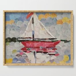 """ Sailboat Hole Punch Art "" Serving Tray"