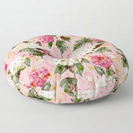 Vintage green pink white bohemian hortensia flowers Floor Pillow