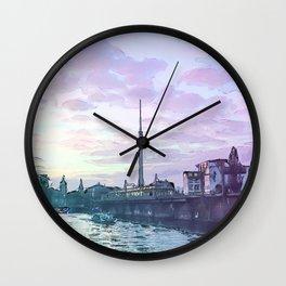 Berlin at Sunset - Illustration - Alexanderplatz - Alex TV Tower Wall Clock