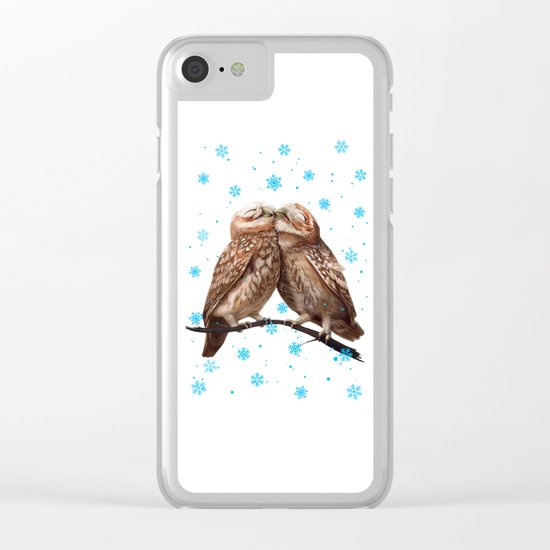 Winter Owls Clear iPhone Case