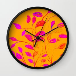 Peaches and Cream Red Leaves Wall Clock
