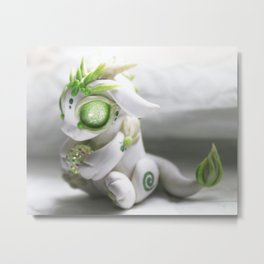 White and Green Bitty Baby Dragon Metal Print