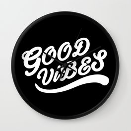 Good Vibes Happy Uplifting Design Black And White Wall Clock
