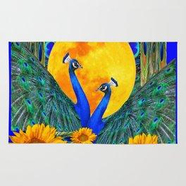 BLUE PEACOCKS MOON & FLOWERS FANTASY ART Rug