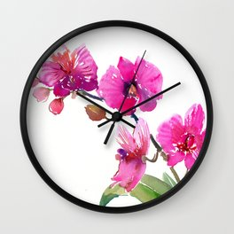 Pink Orchids, pink room floral orchid design Wall Clock