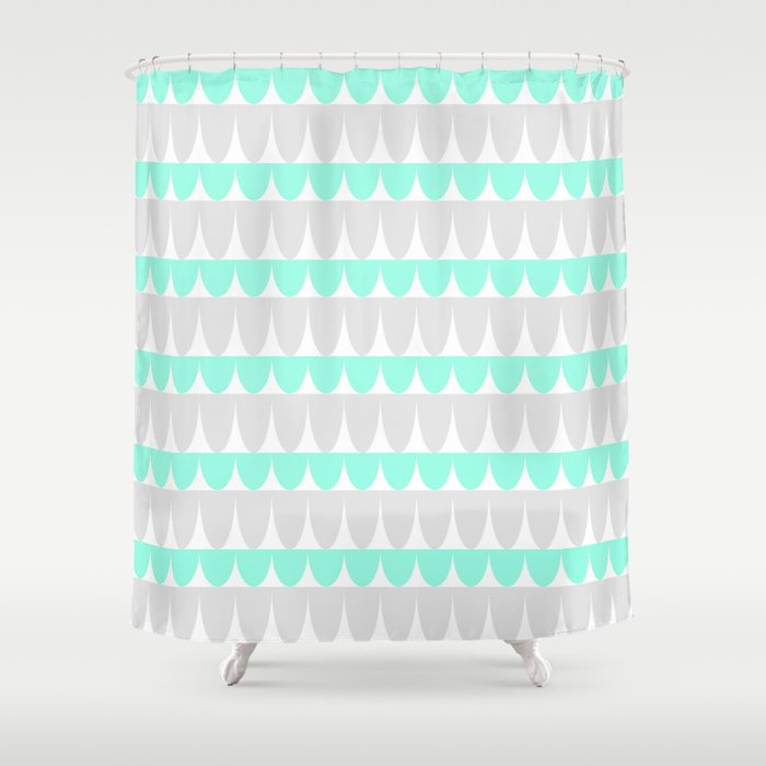 Mint Silver Scallop Shower Curtain