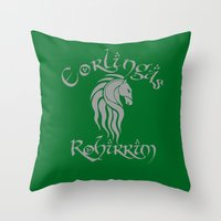 gondor Throw Pillows featuring Eorlingas Rohirrim by CarloJ1956