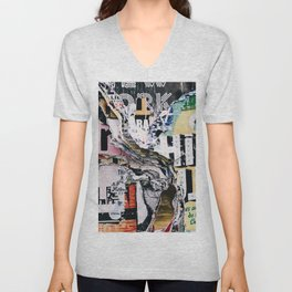 Torn mexican posters wall Unisex V-Neck