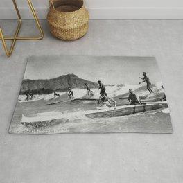 Vintage Surfing Hawaii Rug