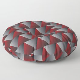 Red and Grey Triangle Illusion Floor Pillow