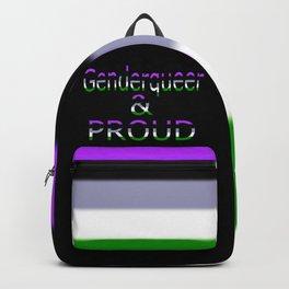 Genderqueer and Proud (black bg) Backpack