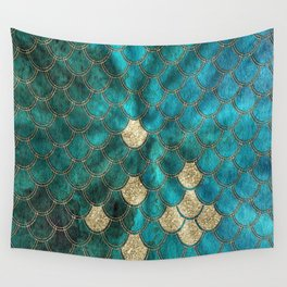 Multicolor Aqua And Gold Mermaid Scales -  Beautiful Abstract Pattern Wall Tapestry