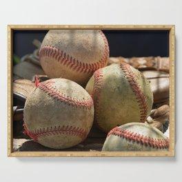 Baseballs and Glove Serving Tray