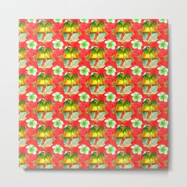 Tropical Christmas Pattern Metal Print