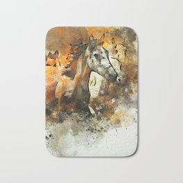 Watercolor Galloping Horses On Raw Canvas | Splatter Painting Bath Mat