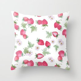 Watercolor . Strawberry on a White background . Throw Pillow