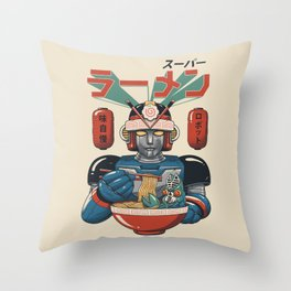 Super Ramen Bot Throw Pillow