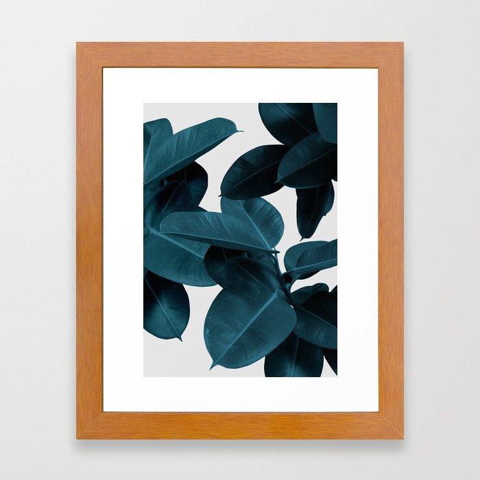 Indigo Blue Plant Leaves Framed Art Print