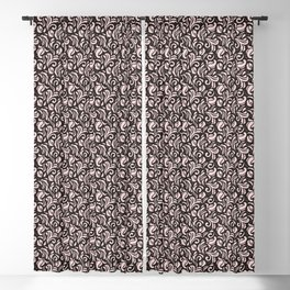 Rose Pearl on Blackberry Syrup Floral Swirls Pattern Blackout Curtain