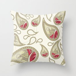 Pink and Tan Paisley Pattern Throw Pillow