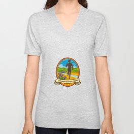 Country Marathon Run Oval Retro Unisex V-Neck