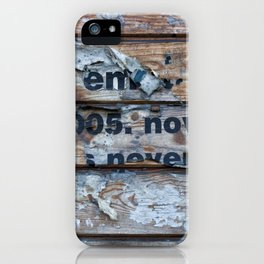 Distressed Poster Fragments On Old Planks iPhone Case