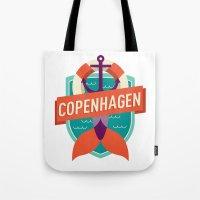 copenhagen Tote Bags featuring Copenhagen by Fedi