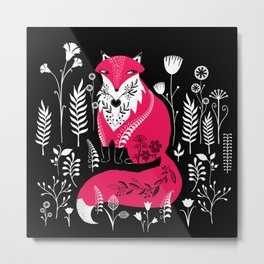Dancing Forest Woodland Folk Fox Metal Print
