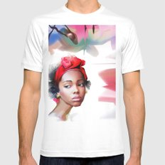 africa MEDIUM White Mens Fitted Tee
