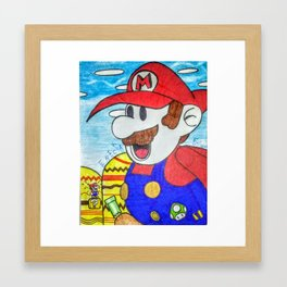 Little Mario Meets Big Mario Framed Art Print