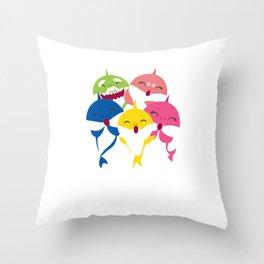 Baby Sharks Aquamarine Marine Life Oceanic Water Sea Ocean Shark Family Sea Creatures Gift Throw Pillow