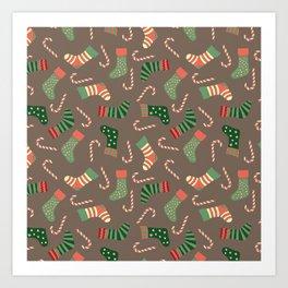 Modern pastel green coral Christmas socks candy Art Print