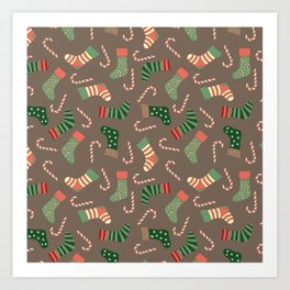 Modern pastel green coral Christmas socks candy Art Print