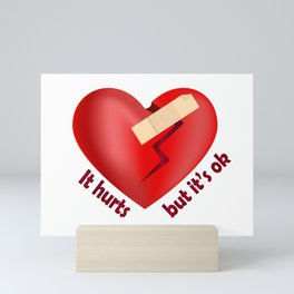 Broken heart patch Mini Art Print