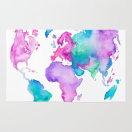 Modern world map globe bright watercolor paint Rug