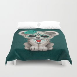 Teal Blue Day of the Dead Sugar Skull White Lion Cub Duvet Cover