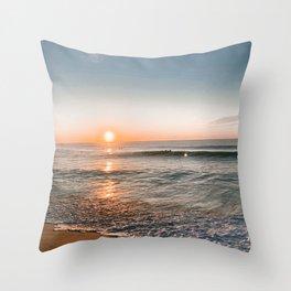 seaside sunrise Throw Pillow